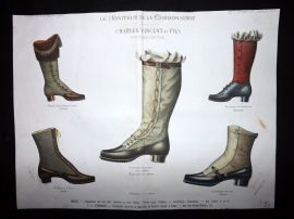 Le Moniteur de la Cordonnerie 1888 Rare Hand Colored Shoe Design Print 40